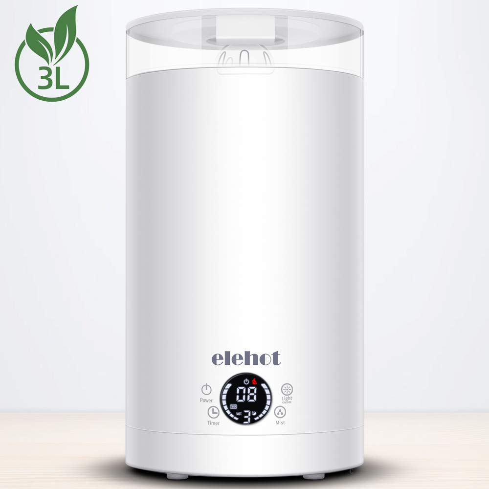 ELEHOT Humidifiers for Bedroom with 3 Levels Adjustable Mist Mode with 7 Colors Light and Top Fill Water (Creamy-White)