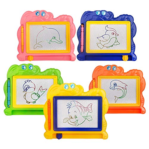 Joddge Mini Magnetic Drawing Board for Kids, Small Travel Writing Painting Sketching Boards, Erasable Toddler Step Learning Education Doodle Pad Gift Prize Preschool Art Toys for Girls Boys (5 Pack)