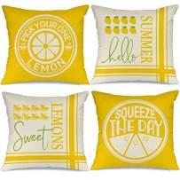 AENEY Summer Decorations Pillow Covers 18x18 Set of 4 Sweet Lemon Pillows Decorative Throw Pillows Summer Farmhouse Decor Pillows Case for Home A366-18