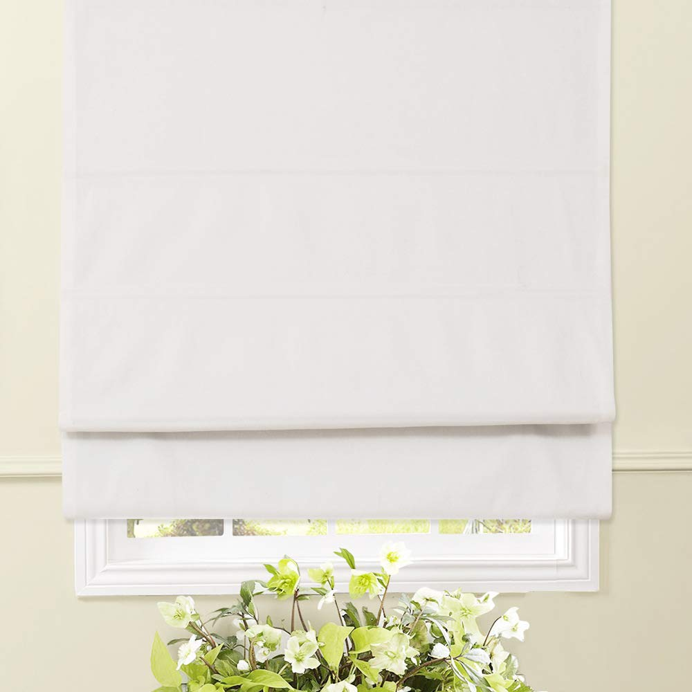 Artdix Roman Shades Blinds Window Shades - White 33.5 W x 72 H Inches Blackout Fabric Solid Thermal Insulated Roman Shades for Windows, Doors, French Doors, Kitchen, Bedroom
