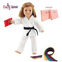 "Emily Rose 18 Inch Doll Clothes for My Life and American Girl Dolls | 18"" Doll Karate Outfit, Includes All 9 Color Belt 