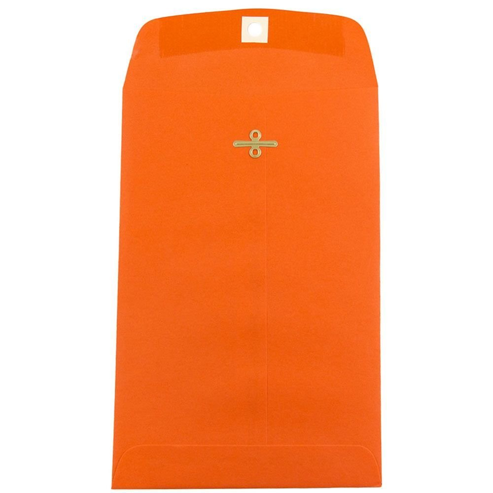 JAM PAPER 6 x 9 Open End Catalog Colored Envelopes with Clasp Closure - Orange Recycled - 50/Pack