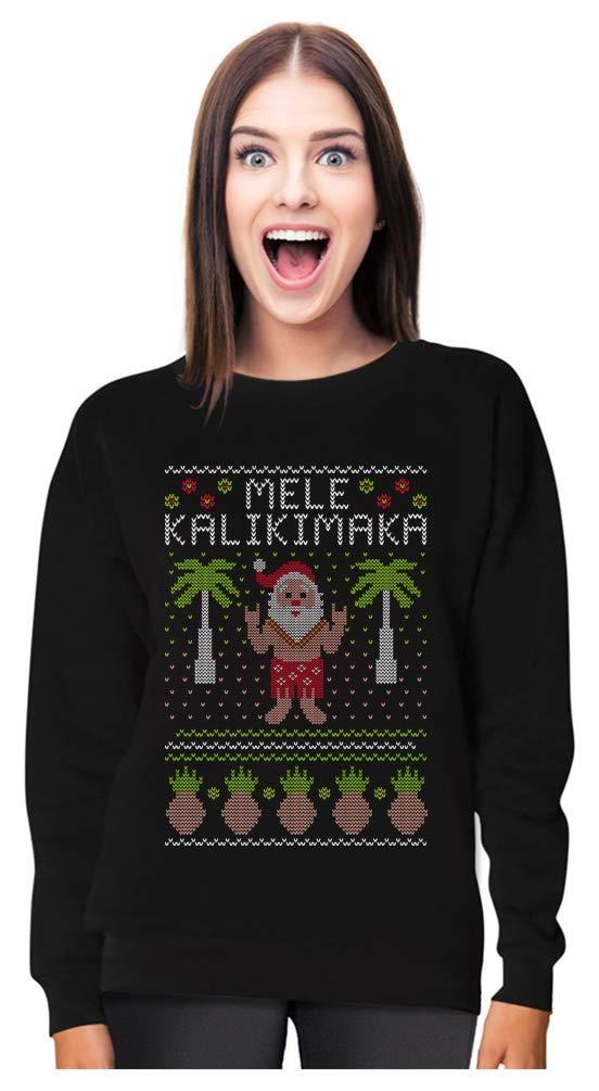 Mele Kalikimaka Hawaiian Santa Themed Ugly Christmas Sweater Women Sweatshirt