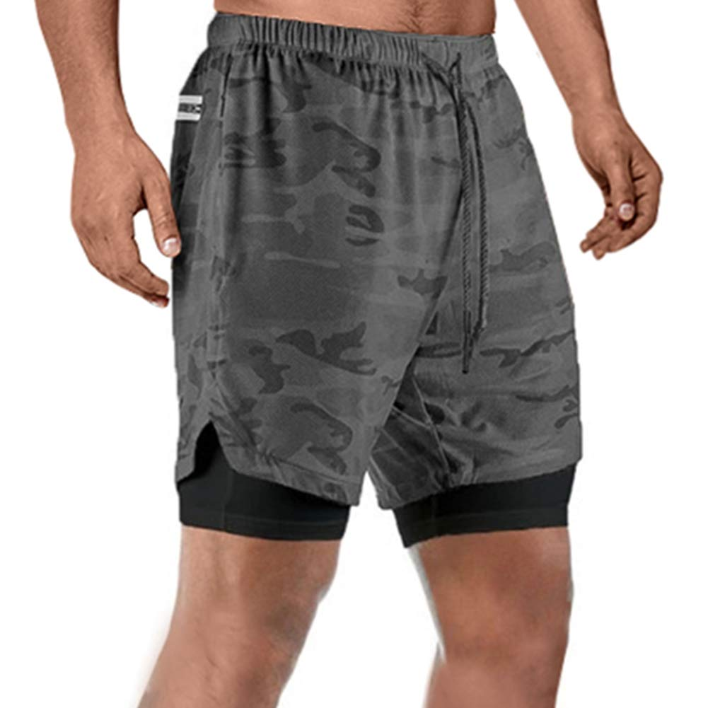 Mens Elastic Waist 2 in 1 Shorts Summer Workout Quick-Drying Breathable Running Shorts with Built-in Pocket Liner