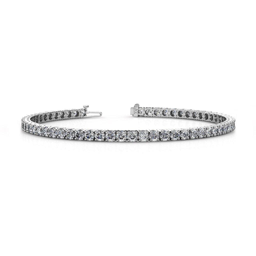 TriJewels Lab Grown Diamond Womens Eternity Tennis Bracelet 14K White Gold (4.75-12.00 ctw)
