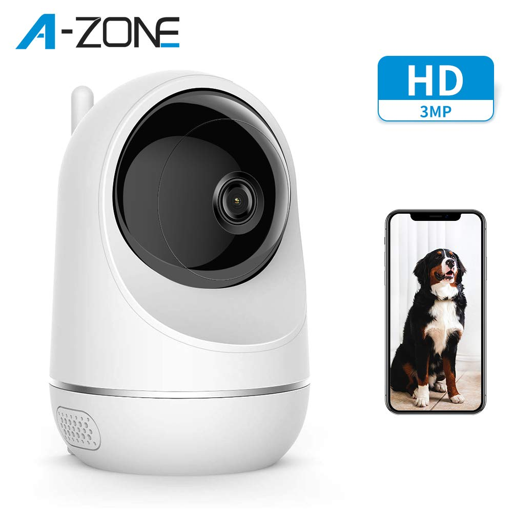A-ZONE Baby Monitor, Wireless 3MP IP Camera with Baby Crying Motion Detection, Home Security Camera for Baby/Elder/Pet, Pan/Tilt, Two-Way Audio & Support Cloud Service, Works with Alexa