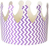Just Artifacts 12pc Childrens Paper Crown Hats King (Chevron, Lavender)