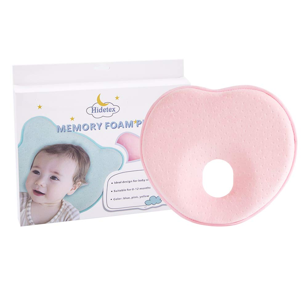 Hidetex Baby Pillow - Preventing Flat Head Syndrome (Plagiocephaly) for Your Newborn Baby,Made of Memory Foam Head- Shaping Pillow and Neck Support (0-12 Months)(Heart Pink)