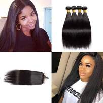 VIPbeauty Brazilian Straight Human Hair Bundles with Closure 4x4 Free Part Lace Closure with Baby Hair Unprocessed Virgin Hair Weft for Black Women (18 20 22 24+16, Nature Color)