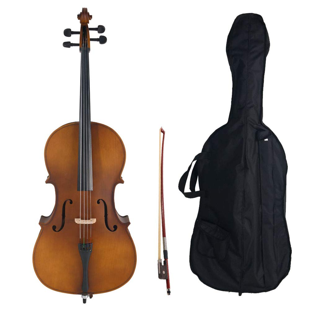 Acoustic Cello Wood Color Beautiful Varnish Finishing,with Soft Case, Bow, Rosin and Bridge,Size 4/4 (Matte Golden)