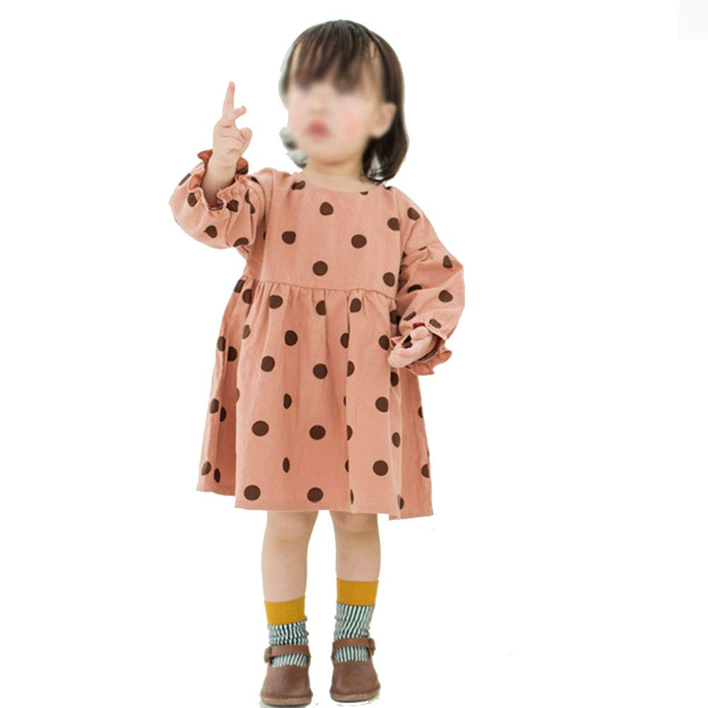 YUN HAO Baby Girls' Cotton Dress Wave Point Long Sleeve Skirt