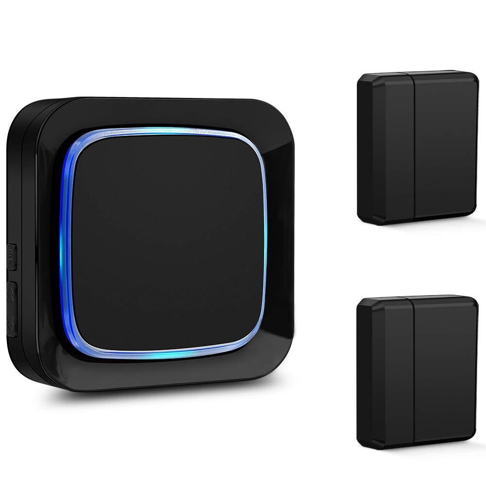 Door Sensor Chime Alarm System for Home Security, Coolqiya Wireless Entry Bell Alert 600FT Operating Range With 4 Volume Levels, 2 Door Sensors + 1 Plug-in Receiver (Black)
