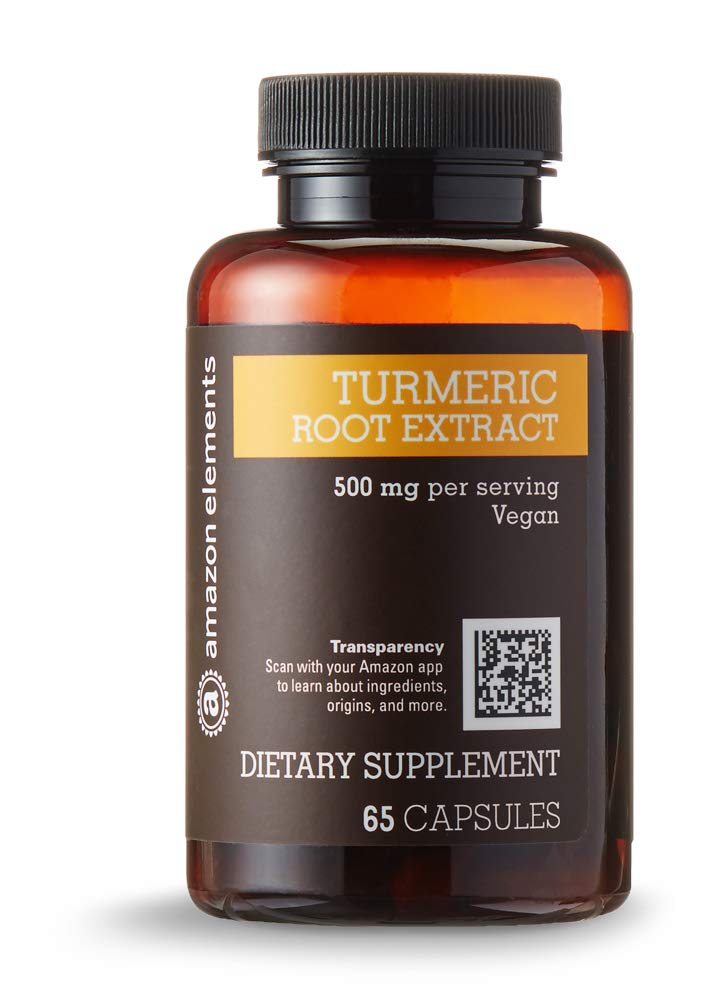 Amazon Elements Turmeric Root Extract 500 mg, Standardized to 95% Curcuminoids, 65 Capsules (2 month supply)