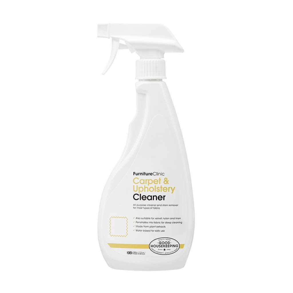 Furniture Clinic Carpet & Upholstery Cleaner - Cleans Fabric Spills and Dirt - Repels Oil and Water Based Stains - Safe for All Fabrics Even Silk & Wool (17 oz)
