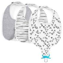 Henry Hunter Baby Drool Bibs with Teething Toy & Pacifier Clip | The BinkyBib | Ultra Absorbent Chenille & Jersey Cotton (Triangle | Stripe | Heather Gray)