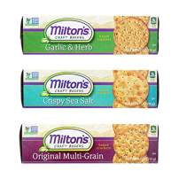 Milton's Gourmet Crackers. Multi-Grain, Garlic & Herb and Crispy Sea Salt Bundle Non-GMO Baked Crackers (3 Flavor Variety Bundle, 8.3 Ounce).
