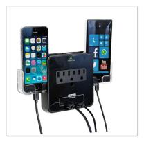RND Power Solutions Wall Power Station includes 3 AC Plugs and 2 USB ports with Surge Protection and 2 slide-out holders(Black)