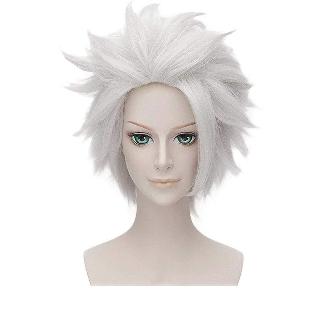 Qaccf Anime Short Layered Halloween Party Costume Cosplay Wig (Silver Grey)