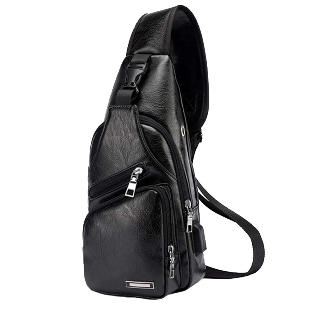 Large Men's Leather Sling Bag Chest Shoulder Backpack Water waterproof Crossbody Bag with USB Charging Port for Travel, Hiking,Cycling (Large Black)