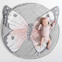 USTIDE Baby Rugs Creeping Crawling Mat Cartoon Sleeping Rugs, Children Anti-Slip Game Mat Cotton Floor Play Mat Blanket Play Environmental Carpet Kids Room Decor 37.4 x 37.4 (Butterfly)