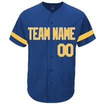 Pullonsy Royal Blue Custom Baseball Jersey for Women Practice Sewn Your Name & Numbers S-2XL - Design Your Own