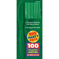 Amscan 43603.03 Big Party Pack Plastic Knives, 9 x 4, Festive Green