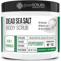 pureSCRUBS Premium Organic Body Scrub Set - Large 16oz PEPPERMINT BODY SCRUB - Dead Sea Salt Infused Organic Essential Oils & Nutrients INCLUDES Wooden Spoon, Loofah & Mini Organic Exfoliating Bar