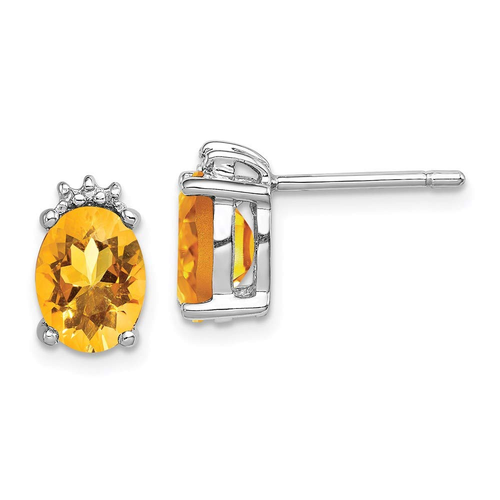 925 Sterling Silver Oval Yellow Citrine Diamond Post Stud Earrings Ball Button Fine Mothers Day Jewelry For Women Gifts For Her