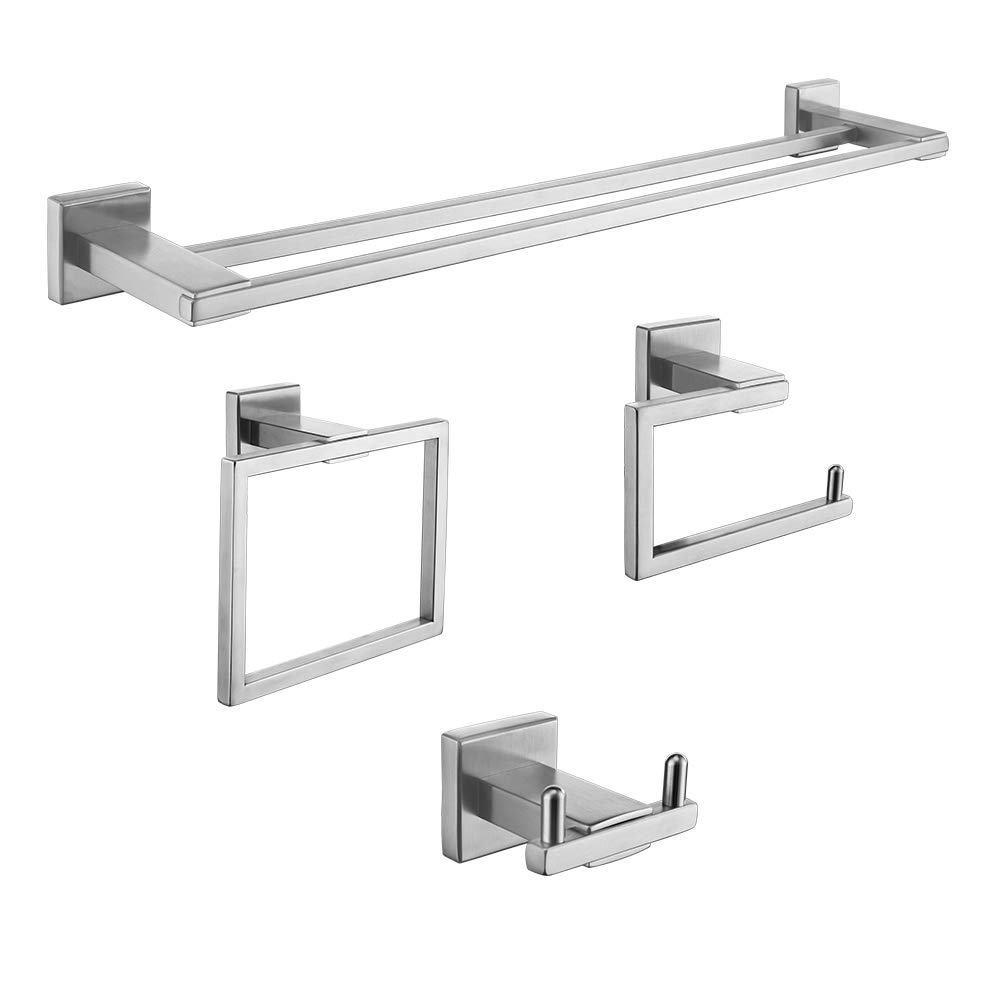 Iriber Bathroom Hardware Double Bath Towel Bar Rack Shelf Caddy Accessory Set,SUS 304 Stainless Steel Towel Holder,Toilet Paper Holder,Robe Hook Brushed Nickel Wall Mounted,4-Piece