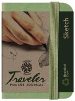 "Pentalic Art Traveler Pocket Journal Sketch Book, 4"" x 3"", Olive Green"