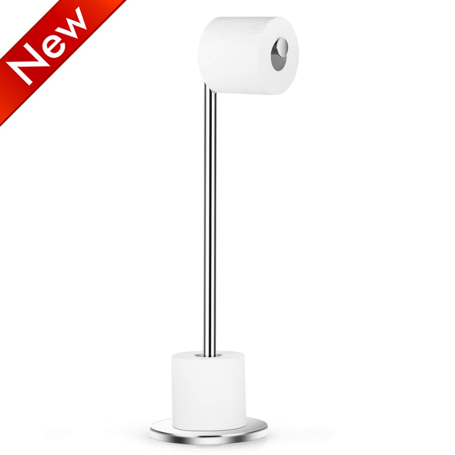 Naturous Stainless Steel Toilet Paper Holder, Free Standing Lavatory Pedestal Toilet Paper Stand with Reserve