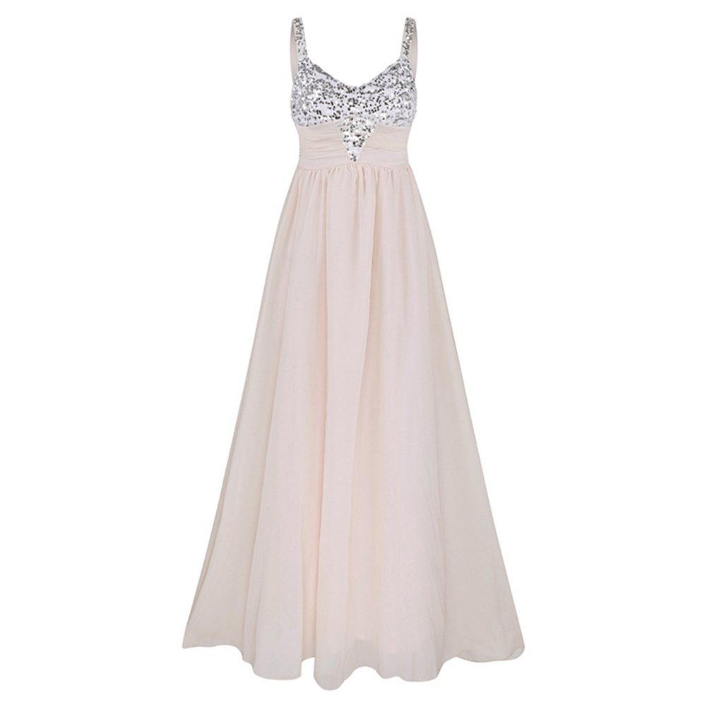 Woolala Chiffon Women's Formal Dresses Sequins Long Prom Dress Evening Gown Deep V Neck