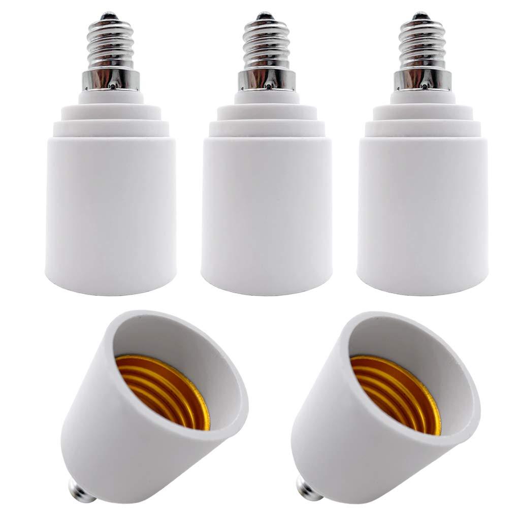 YAYZA! 5-Pack E12 to E26 E27 Bulb Base Adapter, Candelabra to Medium Edison Screw Light Socket Converter, Heat Resistant Up to 200℃ No Fire Hazard