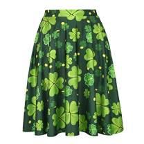 Womens St. Patricks Day Skirts for Women Shamrock Clover Skirt (Size: Large)