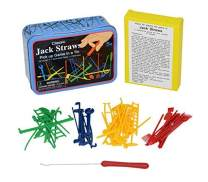 Classic Jack Straws Pick Up Game in a Colorful Tin Box - by Home-X