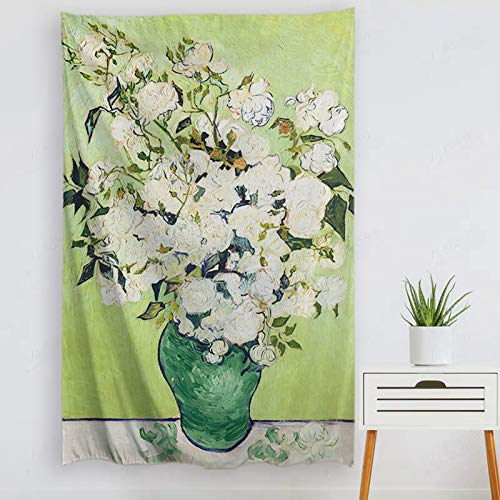 """Baccessor Vincent Van Gogh Tapestry Wall Hanging Rose Nature Plant Floral Classical Wall Art Rustic Wall Home Decor for Bedroom Dorm College Living Room, Vertical, 60"""" L x 40"""" W, Rose"""