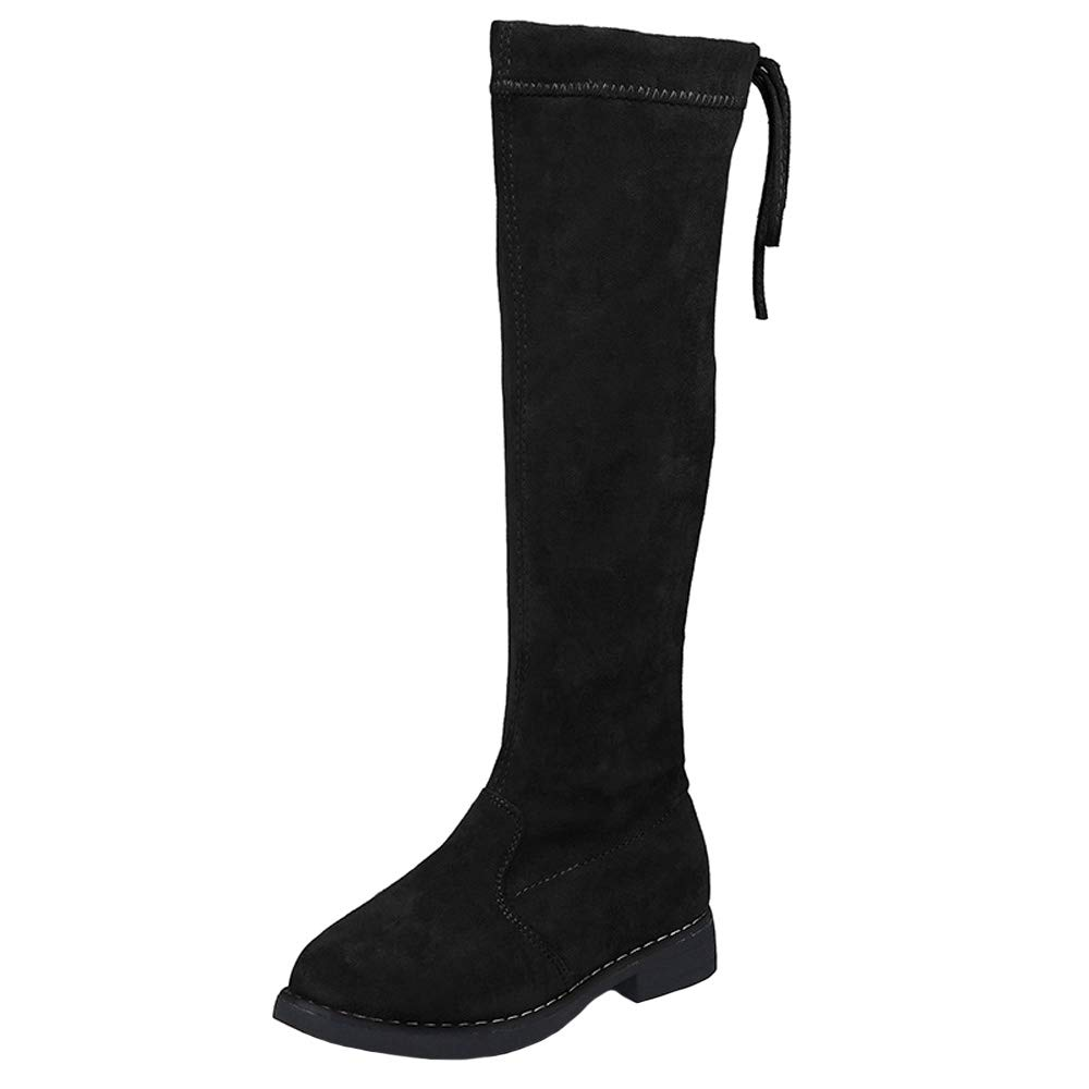 WUIWUIYU Girls Fashion Side-Zip Over Knee High Suede Boots Princess Shoes