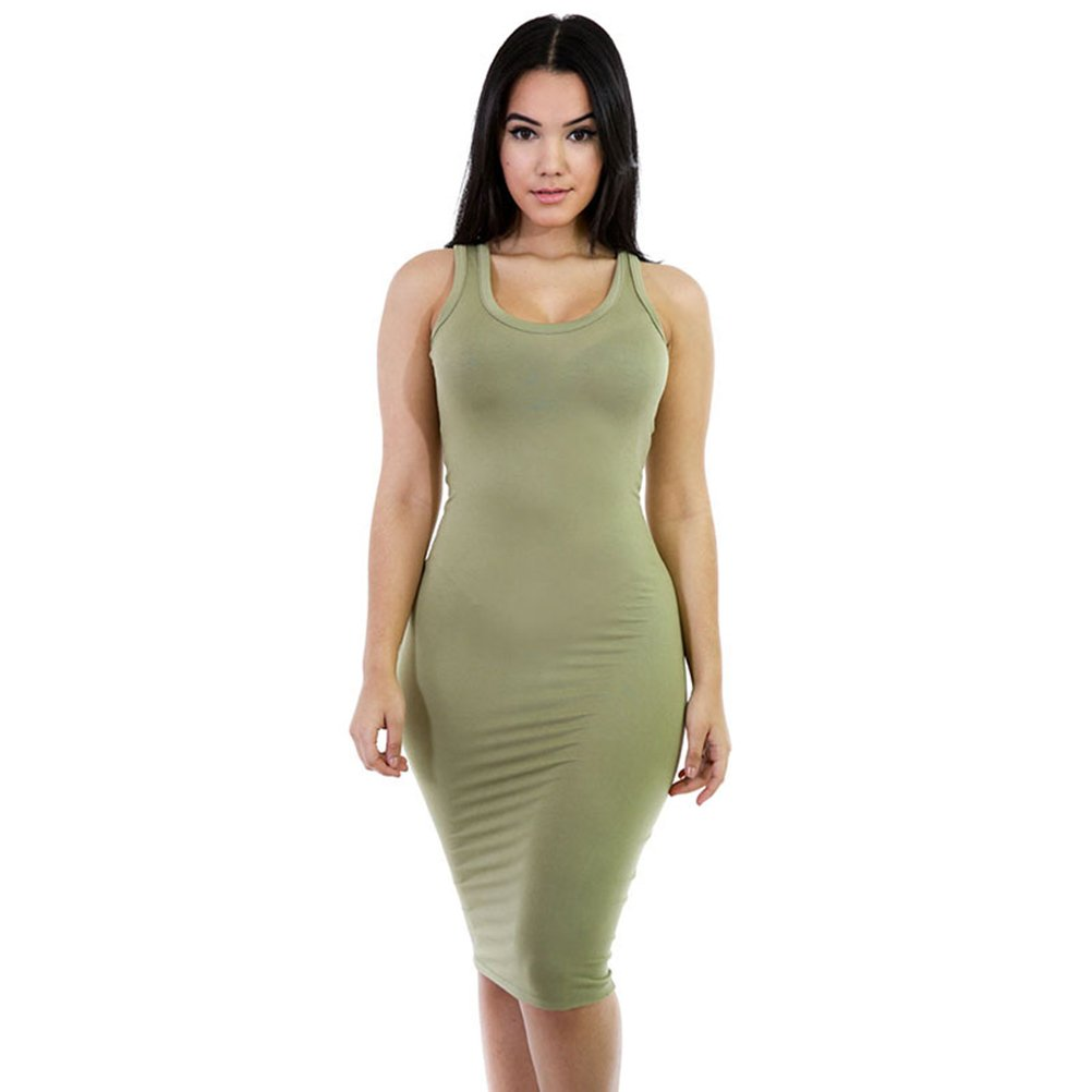 YiYaYo Women's Sleeveless Slim Bodycon Wrap Solid Tank Tops Sundress