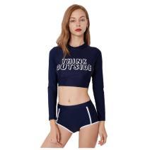 SailBee Women's Two Piece Half Body Long Sleeve Rash Guard Wetsuit Swimsuit UV Sun Protection