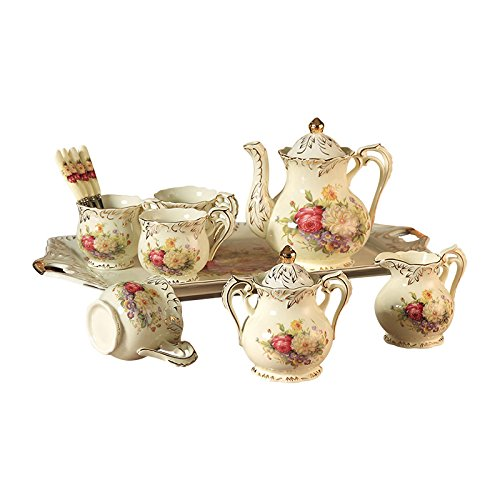 ufengke 8 Piece Creative European Luxury Tea Set, Ivory Porcelain Ceramic Coffee Set With Tea Tray, Hand Painted Red And White Rose Flower, For Wedding Decoration