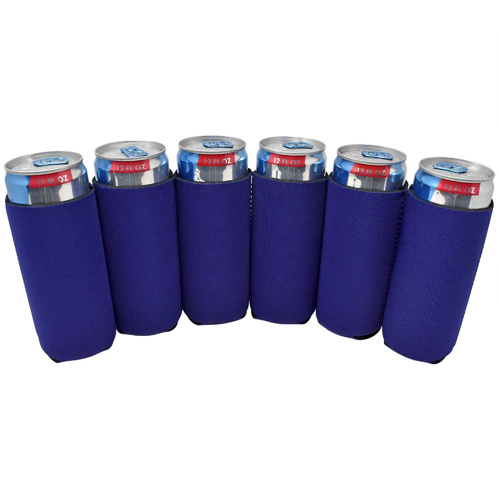 TahoeBay 12 Slim Can Sleeves - Blank Neoprene Beer Coolers – Compatible with 12oz RedBull, Michelob Ultra, White Claw Spiked Seltzer (Purple, 12)