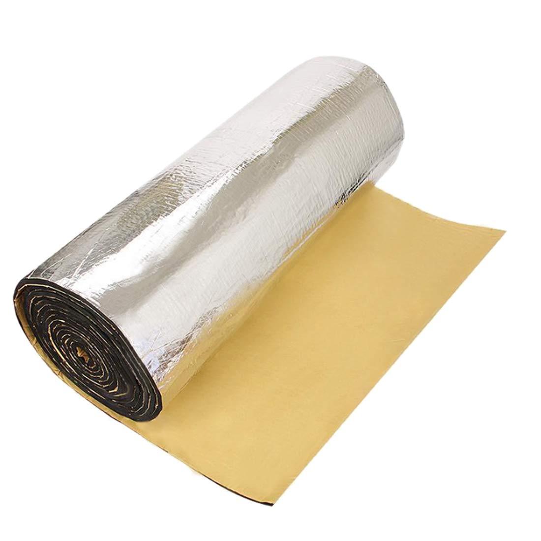 uxcell 197mil 5mm 31.96sqft Car Heat Sound Deadener Insulation Mat Glass Fiber Cotton Liner 118x39 Inches