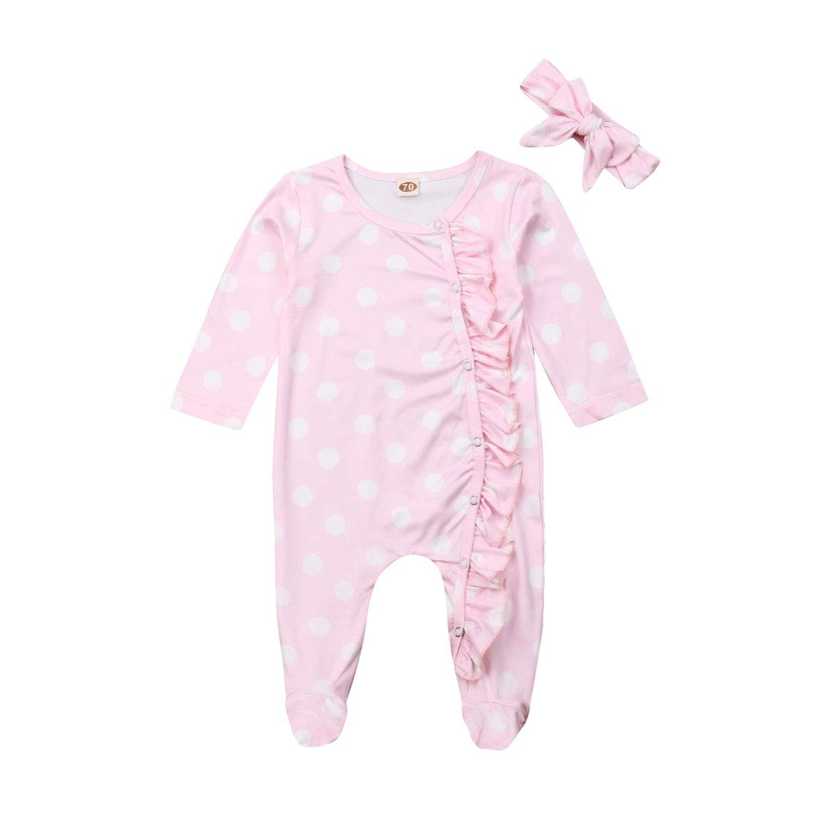 Baby Girls Boys Pajamas Footed Sleeper Long Sleeve Ruffle Jumpsuit with Headband Clothes Set Cotton Romper Bodysuit