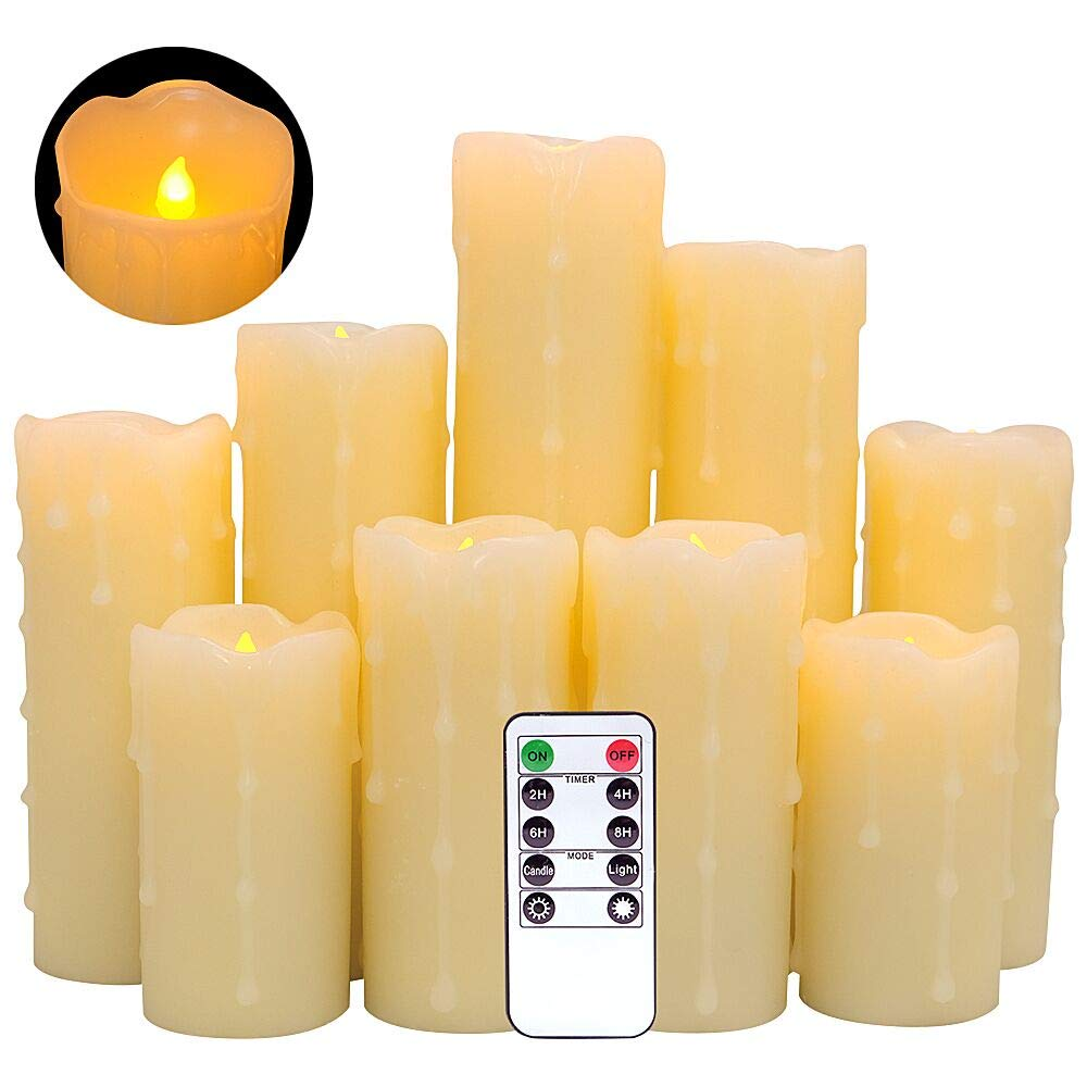 """DRomance Flameless Flickering Candles Battery Operated with Remote and Timer, Set of 9 Dripping Real Wax Warm Light LED Pillar Candles for Holiday, Christmas Decoration(Ivory, 2.2""""D x 4""""-9""""H)"""