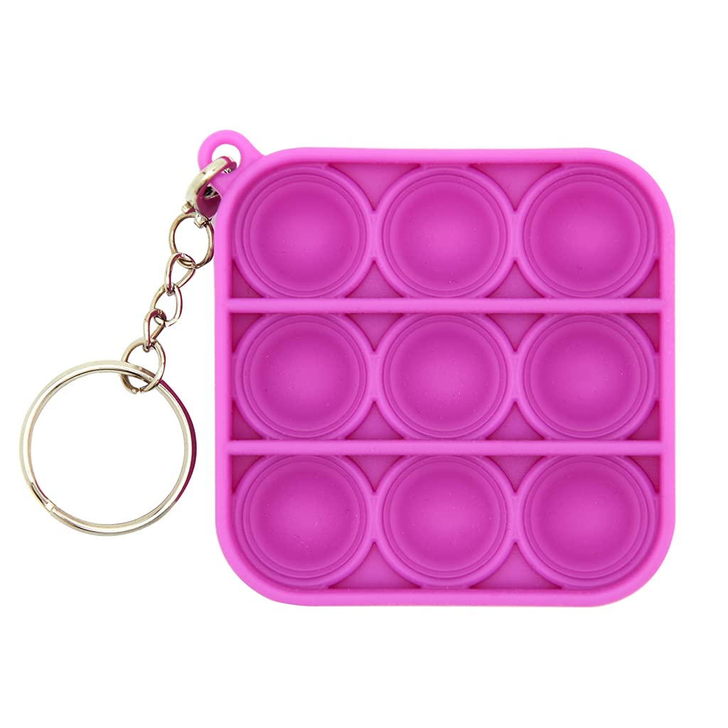 TILIXI Mini Push pop Bubble Fidget Sensory Toys, Fidget Keychain Hand Toys for Adults and Kids Anxiety Autism, Simple Fidget Toy Pack, Stress Relief Gifts for Boys and Girls (Purple)