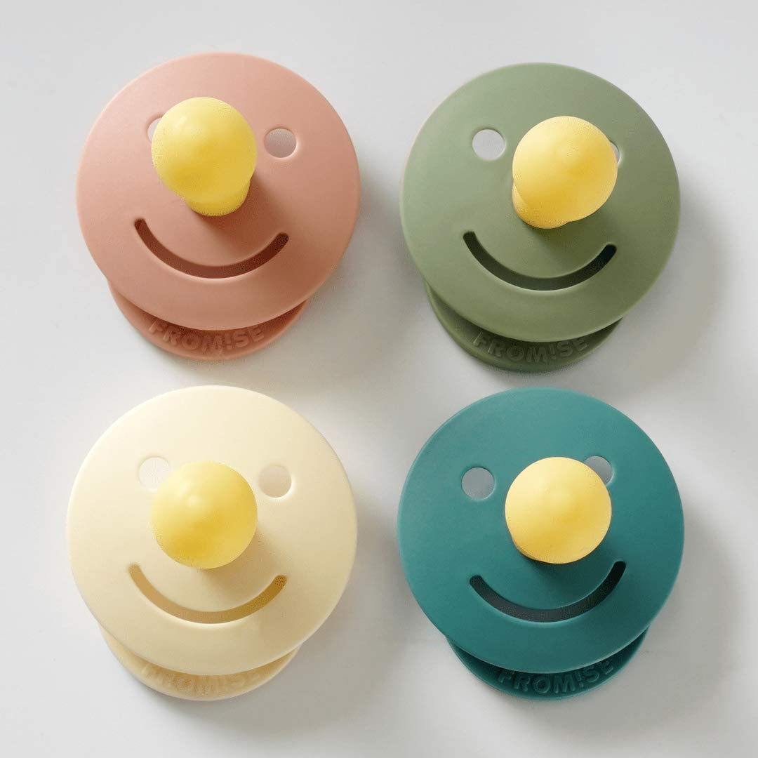 Fromise Silicone Baby Pacifiers Pack of 4 (4 Pacifier) Step 2 (6+ Months) Snow/Primrose/Desert Sage/Antique Blue Individual Packing Made in Korea
