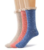 Silky Toes Women's 3 PK Winter Vintage Boot Crew Socks Thick Warm Optional Gift Box