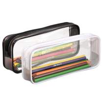 KISEER 2 Pcs Clear Pencil Case Transparent PVC Big Capacity Pencil Pouch Pen Bag Cosmetic Pouch with Zipper for School Office Stationery, Black and White