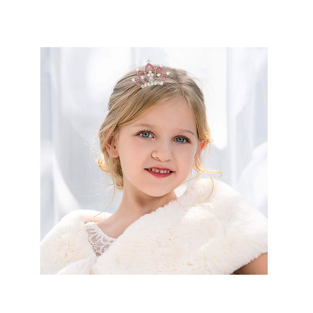 Campsis Princess Tiara Comb Crystal Mini Crown Rhinestone Hair Comb Flower Girl Hair Clips for Kids Toddlers Girls Birthday Party Favors (Pink) (8881p)