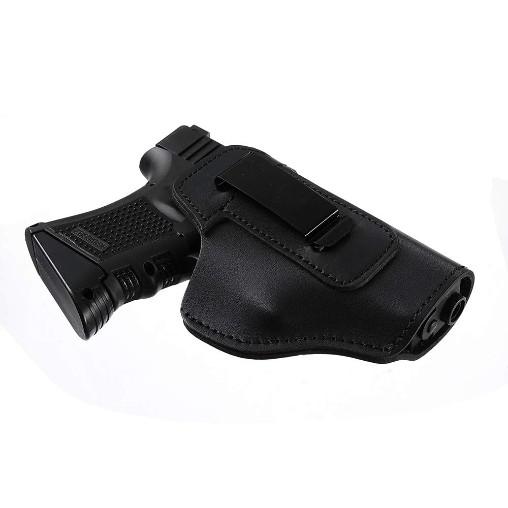 SANDEGOO Leather Gun Holster, Cowboy Concealed Carry IWB Pistol Holster for 9mm Ammo Ruger lcp Sig Glock and Similar Sized Pistol for Men Women
